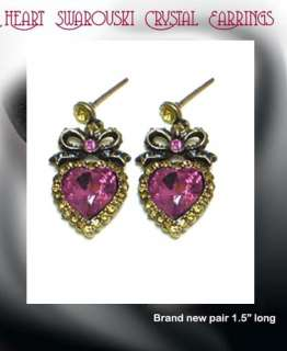 Elegant Fuschia Swarovski Heart & Bow Earrings