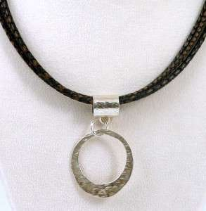SILPADA Three Strand Braided Brown Leather Necklace with Sterling