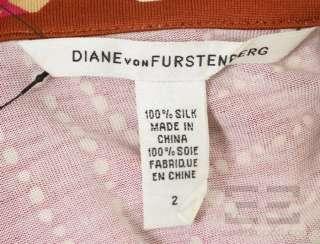 von Furstenberg Fuchsia, Gold, & Brown Silk Wrap Dress Size 2