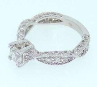 73 Ct Vintage Genuine Round Cut Diamond Engagement Ring 14k White