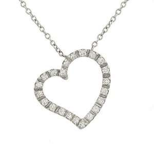 Floating Pave Diamond Heart Pendant on 16 Cable Chain