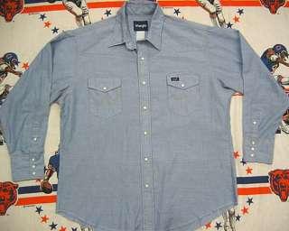 Wrangler BLUE CHAMBRAY WESTERN shirt XL 17 33 cowboy