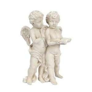 16.5 Resin Aged Stone Cherub Angel Twins Statue