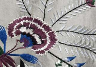 Embroidered, Silk Fabric. Silver Gray with Blue & Burgundy Embroidery