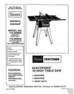 Craftsman Table Saw Manual Model # 113.290650