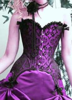 STEAMPUNK Victorian CORSET Damask BLACK Purple GARTERS