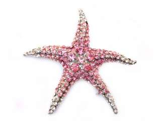 Pink SWAROVSKI CRYSTAL Sea STARFISH PIN BROOCH