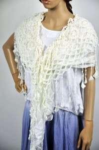 100% Cotton Gentle Elegant Hand Knit Lace Scarf Shawl Wrap Womens