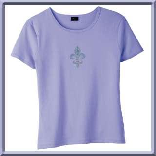 Rhinestones Teal Fleur De Lis WOMENS SHIRTS S XL,2X,3X