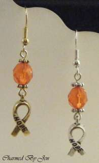 MS MULTIPLE SCLEROSIS Awareness Earrings w/ HOPE Charms