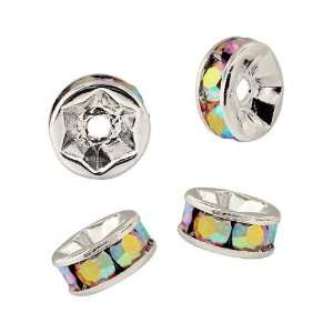 Beadelle Crystal 4mm Rondelle Spacer Beads   Silver Plated / Crystal