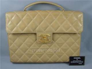 Chanel Quilted Beige Lamb Skin Leather Briefcase Very Good