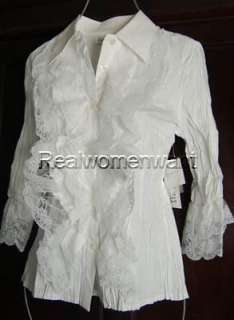 RWW~New Size S L Heavenly White Cascading Lace Poet Top Blouse Shirt