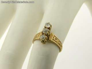 Antique Victorian 3 Diamond Yellow Gold Ring
