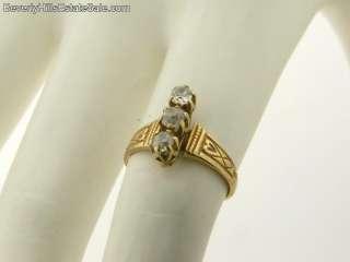 Antique Victorian 3 Diamond Yellow Gold Ring