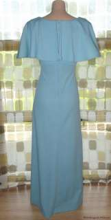 Vintage 70s SKY BLUE Maxi Dress Sexy Deep Plunge Flutter Sleeves Disco