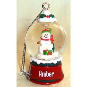 Amber Christmas Snowman Snow Globe Name Ornament