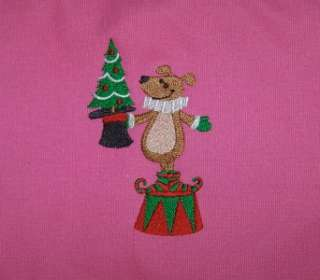 Holiday Magician Dog & Decorated Christmas Tree Monogram Cotton Canvas