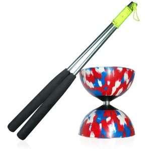 Diabolo (R/W/Blu) with Firetoys Aluminium Hand Sticks (incl string