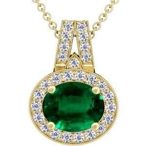 14K Yellow Gold Oval Cut Emerald And Round Diamond Pendant Jewelry