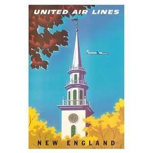 World Travel Poster United Air Lines New England 12 inch