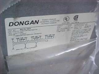 UNUSED DONGAN 75 KVA DIT N3R COPPER COIL TRANSFORMER
