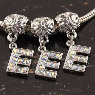 10X Crystal AB Rhinestone Alphabet Letter Dangle Pendant Bead Charm