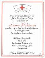 20 Custom Retirement Party Invitations/Nursing/Nurse