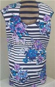 New Lena Womens Plus Size Clothing White Flower Print Tank Top Shirt