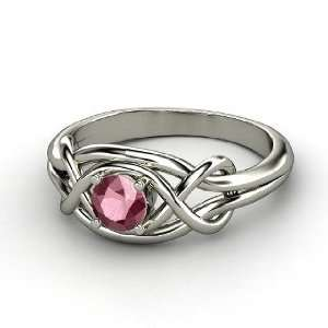 Knot Ring, Round Rhodolite Garnet Sterling Silver Ring Jewelry