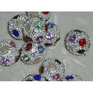 Multi color Rhinestone Rondelle Add A Bead Arts, Crafts
