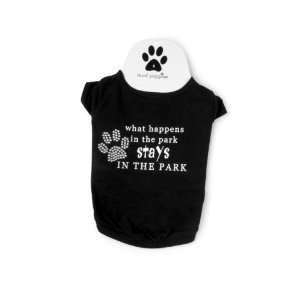 Mud Pie Dog Tee Shirt What happen in the park stays in the park (Small