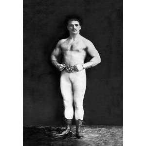 Vintage Art Bodybuilder in Leotard and Boots   03983 3