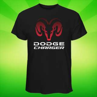 HOT Black & White T Shirt Dodge Charger Muscle Car Logo