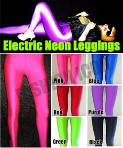 Pink Opaque Glossy Shiny Neon UV SPANDEX Leggings Pants