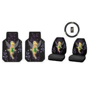 5pc Tinker Bell Mystical Front Floor Mats, Front Bucket Seat Covers