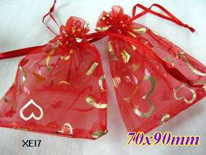 50 Red valentines day gift heart organza wedding Gift Favor bags