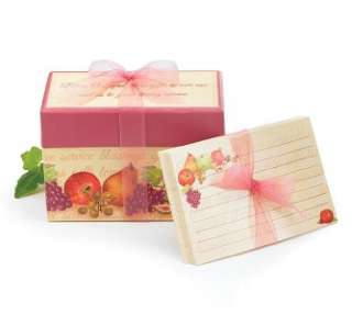 HARVEST GRACE RECIPE CARD FRUIT BOX WITH 25 CARDS NEW