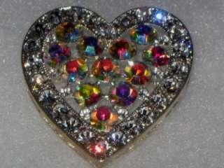 VTG PRINCESS CRYSTAL AB RHINESTONE HEART BROOCH/PENDANT SILVER PLATED