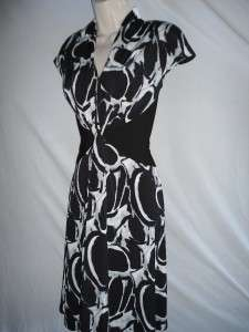 Jones New York Dress 12 NEW Black White Printed Stretch