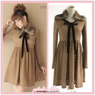 Women Fashion Lovely Removable Fur Collar Brown Dots Cute Dress