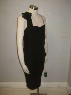 Betsey Johnson  Black Lace Rosette On One Side Draped Party