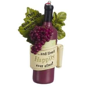 Wine Bottle With Grapes They Drank Wine Everyday Christmas Ornament
