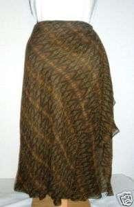 NWT Ralph Lauren Brown Green Silk Mock Wrap Skirt L