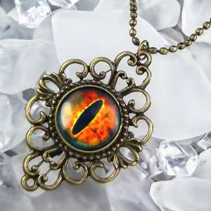 Dragon Cat Eye Gothic Fantasy Eyeball Antique Bronze Necklace 551 AF