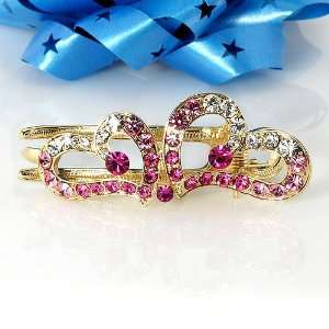 Gold Tone Double Heart Hair Claw Clamp in Crystal Beauty