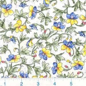 45 Wide Morning Mist Carnations French Blue Fabric By