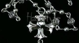 King Queen Baby Studio Crowned Heart Cross Motif Rosary