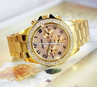 Mens Ladys Luxury Crystal Stainless Quartz Wrist Watch