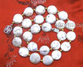 High quality AAA GRADE WHITE 12mm COIN PEARL NECKLACE